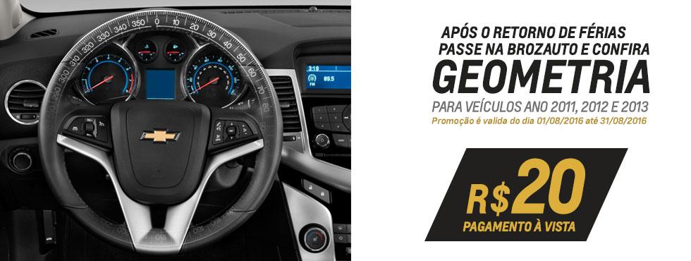 Alinhamento carros 2011, 2012 e 2013 promoção Geometria Chevrolet Brozauto Gravataí