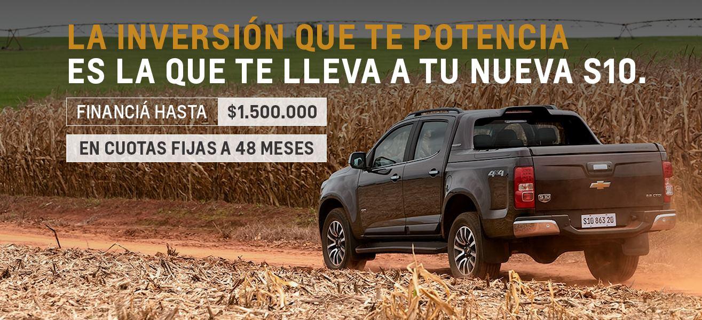 Financía tu Chevrolet S10 en hasta $1.500.000
