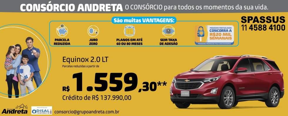Comprar Chevrolet Equinox 2.0 LT com o Consórcio de carros Andreta da concessionária Spassus