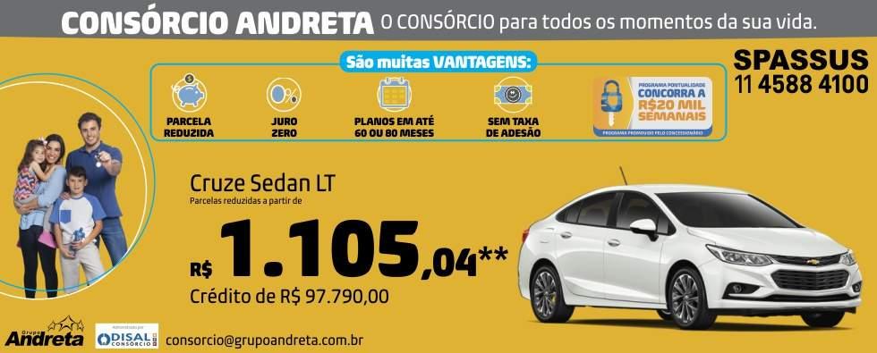 Comprar Chevrolet Cruze sedan LT com o Consórcio de carros Andreta da concessionária Spassus