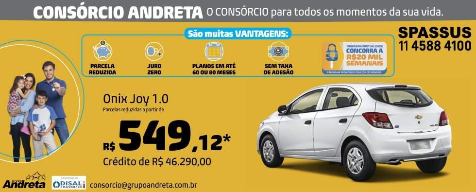 Comprar Chevrolet Onix Joy 1.0 com o Consórcio de carros Andreta da concessionária Spassus