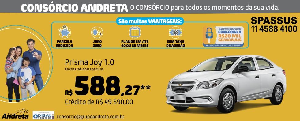 Comprar Chevrolet Prisma Joy 1.0 com o Consórcio de carros Andreta da concessionária Spassus