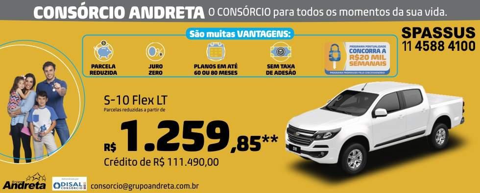 Comprar Chevrolet S10 Flex LT com o Consórcio de carros Andreta da concessionária Spassus