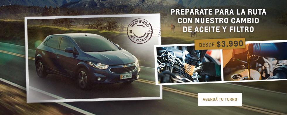 Cambio de aceite y filtro Chevrolet en Tierra del Fuego