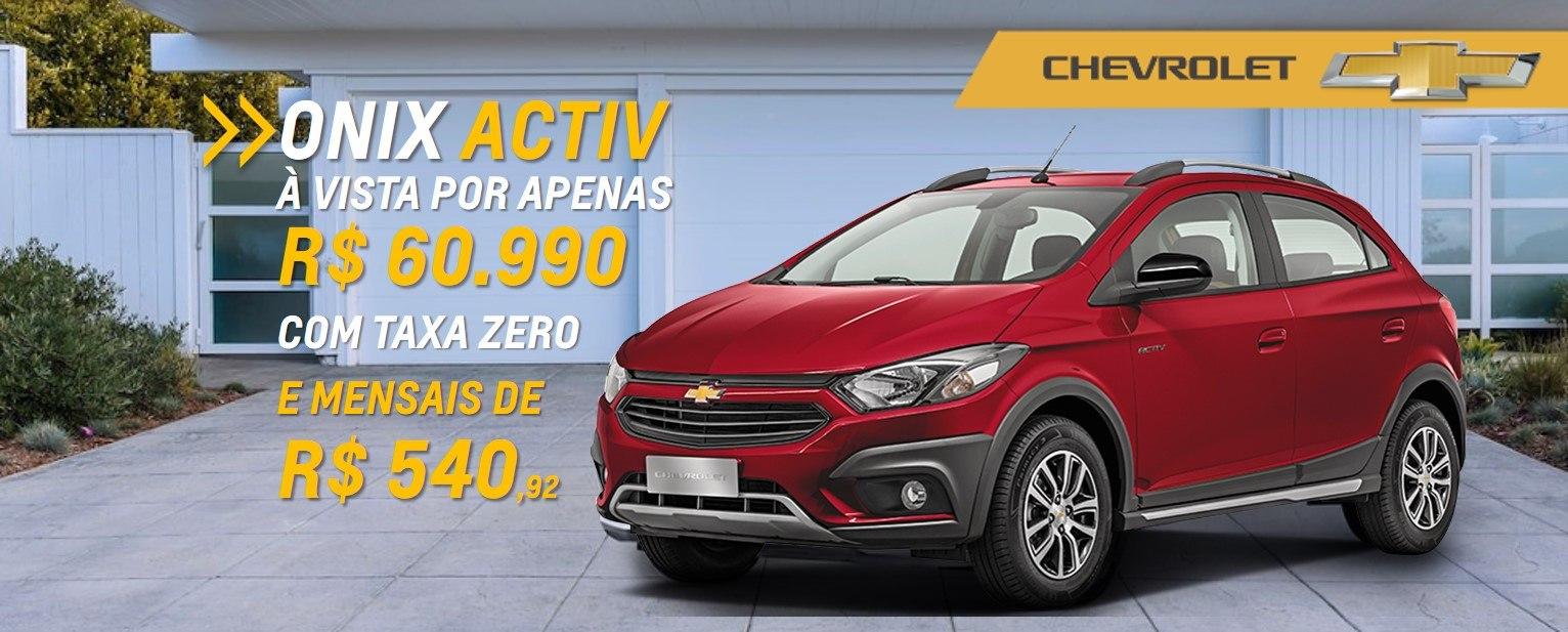 Ofertas Chevrolet - Onix-Activ com TAXA ZERO e parcelas que cabem no seu bolso