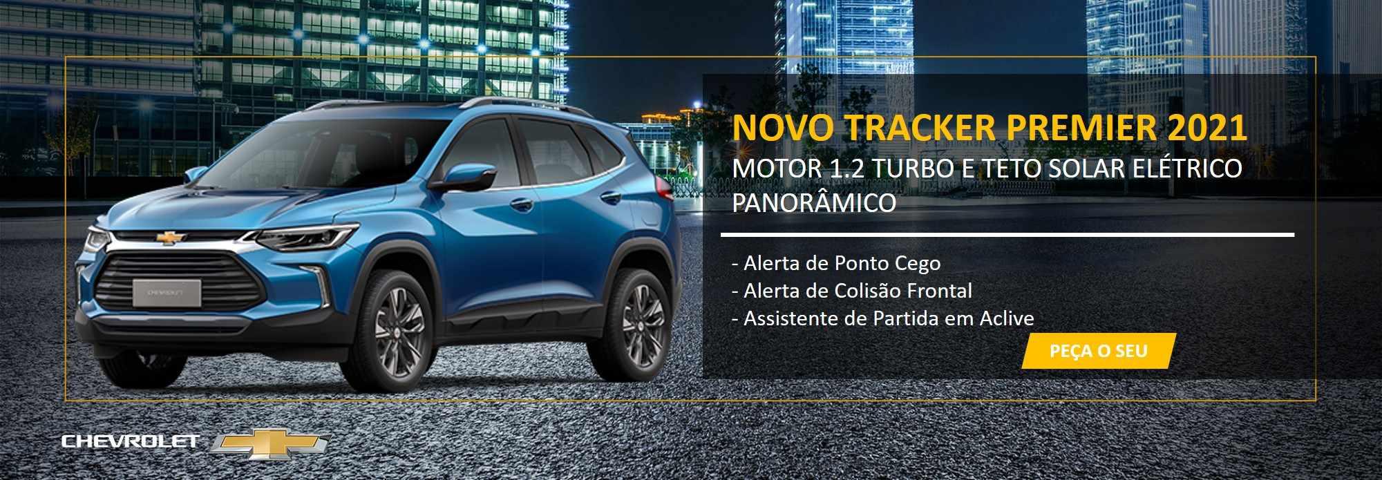 NOVO TRACKER PREMIER 2021 MOTOR 1.2 TURBO E TETO SOLAR ELÉTRICO PANORÂMICO - APROVEITE ESSA OPORTUNIDADE!