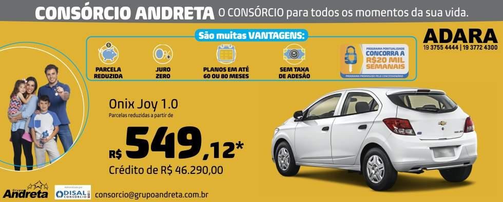 Comprar Chevrolet Onix Joy 1.0 com o Consórcio de carros Andreta da concessionária Adara