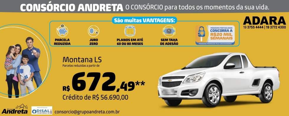 Comprar Chevrolet Montana LS com o Consórcio de carros Andreta da concessionária Adara