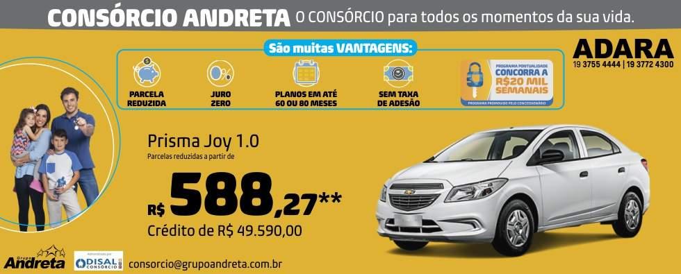 Comprar Chevrolet Prisma Joy 1.0 com o Consórcio de carros Andreta da concessionária Adara