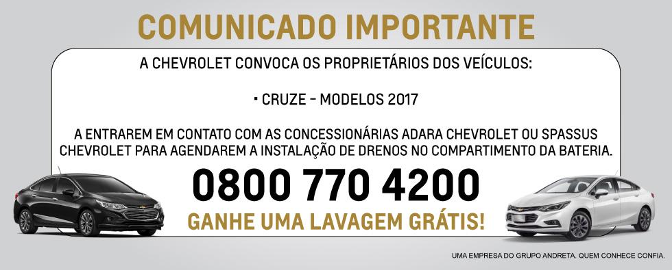 Chevrolet - Digitais Comunicado Pós Vendas (Home Cruze)