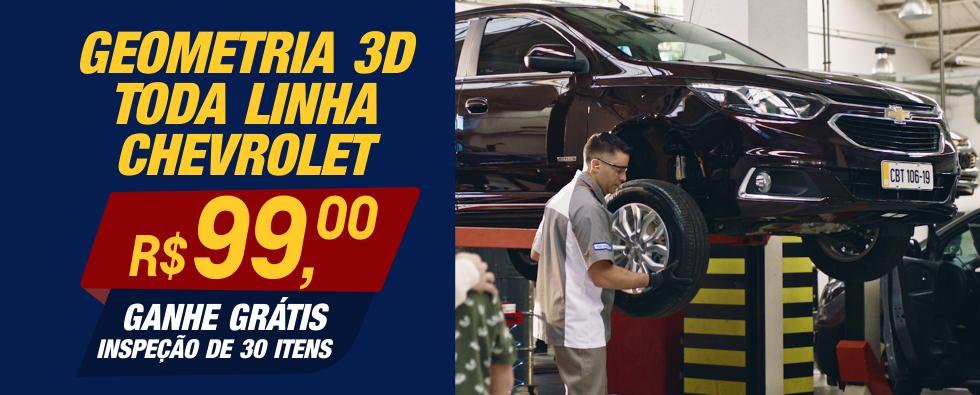 Geometria 3D para TODA LINHA Chevrolet R$ 99,00 + inspecao 30 itens gratis