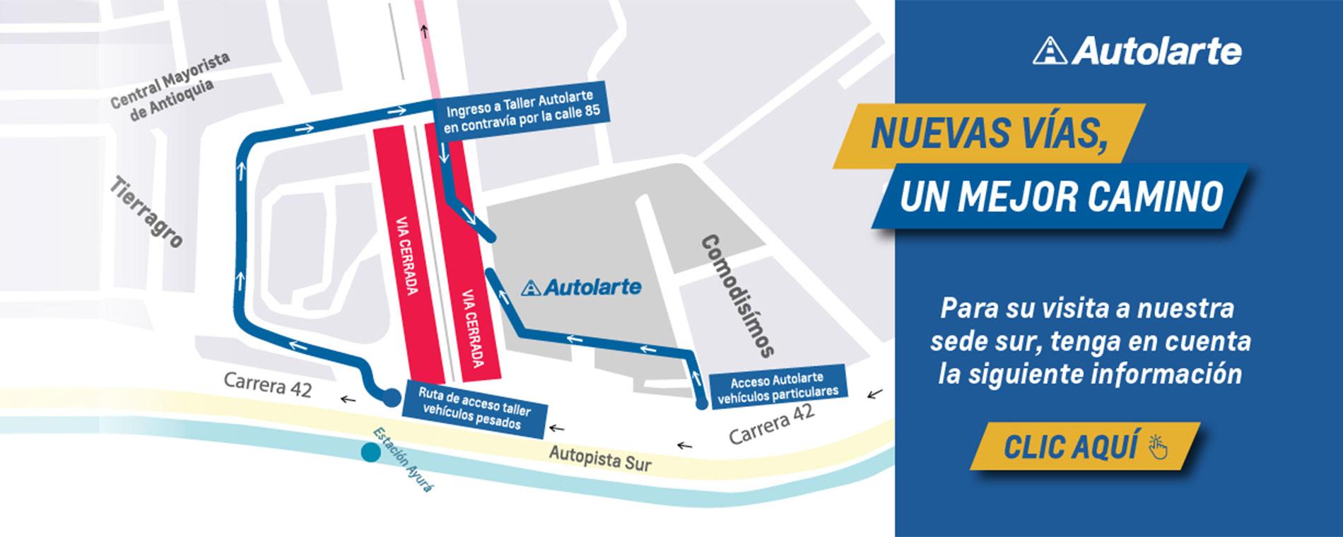 Chevrolet Autolarte - Medellín antioquia - vías y trayectos