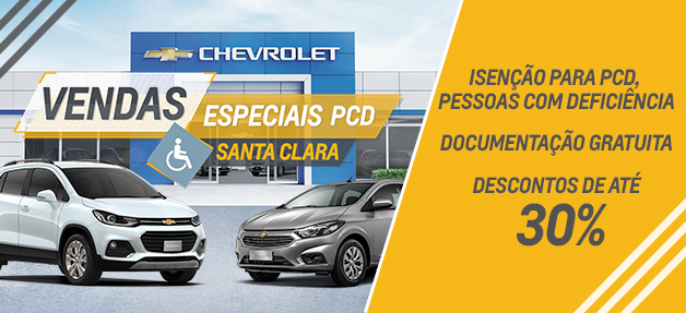Isenção para pessoas com deficiência, descontos de até 30% e documentação gratuita, aqui na Santa Clara Chevrolet.